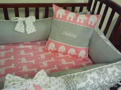 YOU DESIGN Custom 3 piece Crib Bedding Set - Bumper, Skirt and Sheet Pink and Gray on Etsy, $295.00