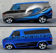 I've been considering a forward moving wave scheme. this is much nicer than I thought! Chevy Astro Van, Gmc Vans, Dodge Van, Old School Vans, Painted Vans, Vanz, Lowered Trucks, Day Van, Custom Hot Wheels