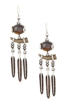 Oval Stone & Horn Feather Dangle Earrings