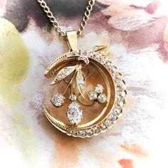 Antique Victorian Old Pear Mine Cut Diamonds Circa 1880's 2.83ct t.w. Crescent Moon Pendant Necklace 18k Gold 14k Gold Chain 20