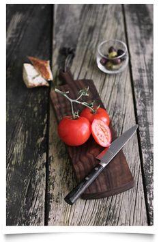 Black Walnut Cheese Board with Tomato
