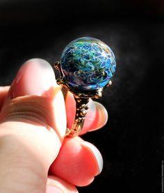 "Купить Кольцо лэмпворк ""Гороскоп"" - темно-синий, синий, голубой, кольцо, перстень, Анастасия Симанцева"