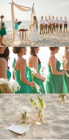 Beautiful beach wedding!! Loving those bridesmaids dresses ...same dresses and color I chose for my bridesmaids, he he!