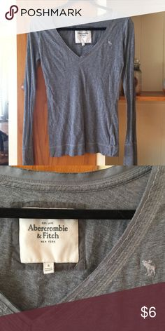 Grey long sleeve a&f I've had this forever but have mane worn it twice. Perfect condition Abercrombie & Fitch Tops Tees - Long Sleeve