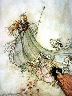 Like style of artwork - dark outlines with watercolor, muted fill tones - for invite illustration. Midsummer Night's Dream, Arthur Rackham