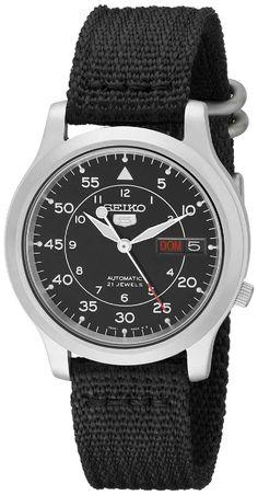 a85e606819 Amazon.com  Seiko Men s SNK809 Seiko 5 Automatic Stainless Steel Watch with  Black Canvas Strap  Seiko  Watches