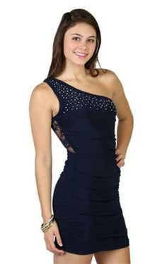 f7dbdbcd4c6cb One Shoulder Dress with Embellished Bodice and Illusion Lace Back