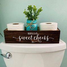 Bathroom Storage Boxes, Bathroom Organization, Storage For Small Bathroom, Diy Storage Boxes, Wood Bathroom, Half Bathroom Decor, Apartment Bathroom Decorating, Small Bathroom Decorating, Bathroom Theme Ideas