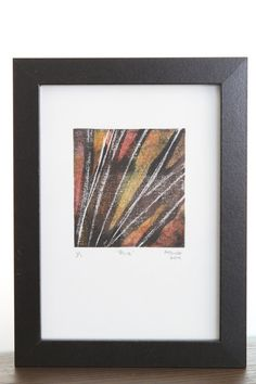 Framed abstract print created using pine needles - a one of a kind original nature artwork by EchidnaArtandCards on Etsy #nature #monoprint #art