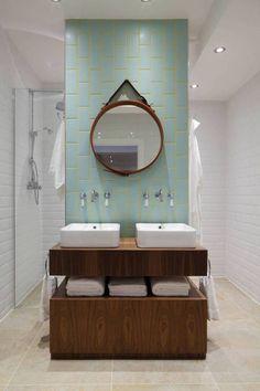 Aqua and yellow add subtle color to the stylish bathroom [Design: Oliver Burns] Bathroom Color Schemes, Bathroom Colors, Aqua Bathroom, Granite Bathroom, Neutral Bathroom, Office Bathroom, Bathroom Plants, Bathroom Mirrors, Bathroom Layout