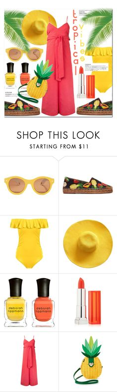 """""""Tropical Vibes Only"""" by stylemaven2 ❤ liked on Polyvore featuring Lucy Folk, Dolce&Gabbana, Deborah Lippmann, Maybelline, CITYSHOP, Betsey Johnson, tropical, vacation, pineapple and TropicalVacation"""