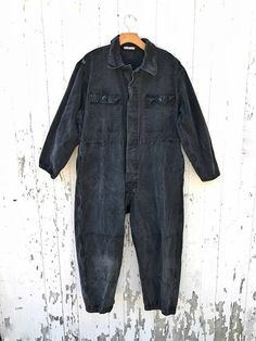 21ac1cc136cb Vintage Black Mechanic Coveralls Canvas Workwear
