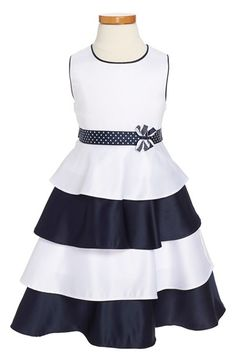 Silky tiers in crisp navy and white pretty up the twirly skirt of a sleeveless party dress edged in contrast piping and cinched with a polka dot ribbon sash at the waist. Little Girl Outfits, Little Girl Dresses, Kids Outfits, Girls Dresses, 50s Dresses, Sport Outfits, Dress Anak, Toddler Girl Dresses, Toddler Girls