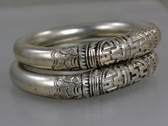 Great pair of Chinese silver wedding bracelets - nicely incised!