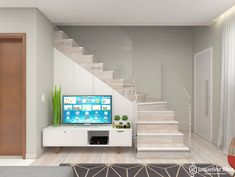 Room Under Stairs, Stairs In Living Room, House Stairs, Living Room Decor, Bedroom Decor, Living Pequeños, My House Plans, Stair Decor, Hidden Rooms