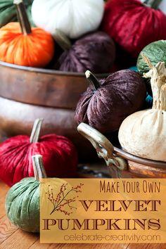 Make your own velvet pumpkins