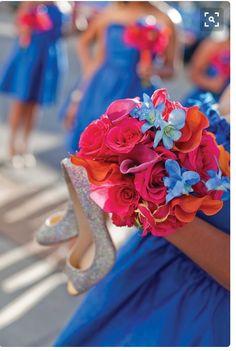 Orange pink blue