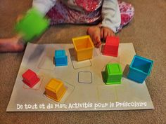 Easy game for toddlers for one on one correspondence. Draw the outline of the nesting cubes and let the kids match them.