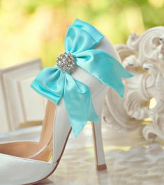Shoe Clips Bows Tiffany Blue / White / Ivory / Teal. Shiny Rhinestones. Fashionista Wedding Couture, More Satin Ribbon Sage Pink Red Black. $42.00, via Etsy.
