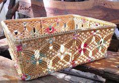 Basket ,Medium size, Macrame, Rectangular shape,Handmade in Natural Colors, Storage,Picnic,Gift basket,Living room.