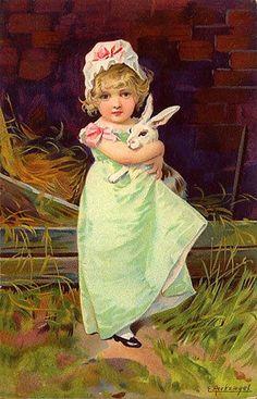 Her Little White Rabbit~ E Peckziegel ~ Vintage Easter Postcard ~ via Suzee Que Easter Art, Hoppy Easter, Easter Crafts, Vintage Greeting Cards, Vintage Postcards, Vintage Images, Vintage Easter, Vintage Holiday, Somebunny Loves You