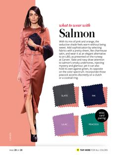 salmon + slate/ink/lilac/peacock InStyle Color Crash Course-  #whattowearwith