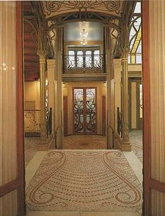 Chpater 19 - Art Nouveau - Hotel Tassel. Curvy lines on floor, ironwork, entry
