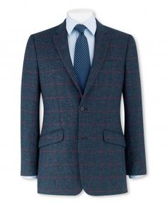 97c32eade Navy Red Check Classic Fit Sports Jacket Savile Row, Sports Jacket, Smart  Casual,