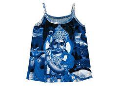 Women's Tank Tops Royal Blue Krishna Print Yoga T-Shirt