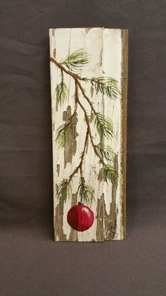 RED Hand painted Christmas decoration, GIFTS UNDER 25, Pine Branch with Red Bulb, Reclaimed barnwood, Pallet art, Shabby chic  Original