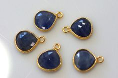 Natural beautiful blue sapphire vermeil gold connector by vlvp, $6.15