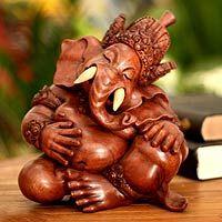 Wood sculpture, 'Sleepy Ganesha'