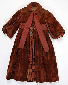 1889 child's silk and cotton coat, American, via MMA.  (See photo of matching muff.)