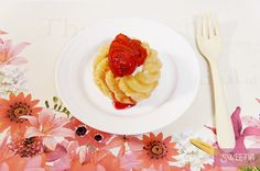 Floral Paper Placemat, Donut with Cheese Cream 花柄ペーパーランチョンマットとチーズクリーム入りドーナッツ♪