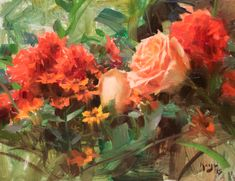"""Daniel Keys - """"Potted Dallias with Roses Study"""" — Montana Gallery Oil Painting App, Oil Painting Flowers, Watercolor Flowers, Rose Paintings, Daniel Keys, Tree Identification, Keys Art, Still Life Art, Watercolor Background"""