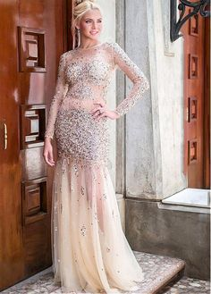 Luxury Crystal Beaded See Though Tulle Red Carpet Celebrity Dress 2017 New Silver Lace Decoration Long Mermaid Evening Gowns Aesthetic Appearance Weddings & Events