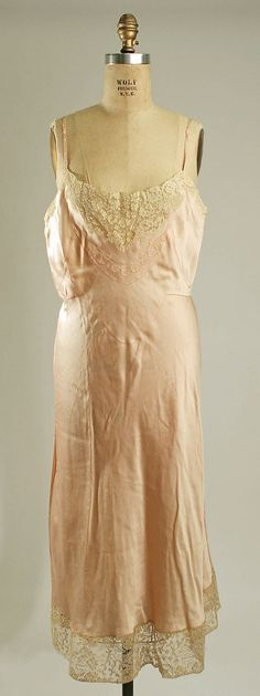 Pale pink silk and cotton lace slip, French, 1930s.