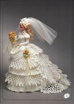 1993 Bride Doll Gown Vintage Crochet by KnitKnacksCreations