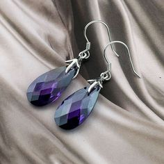 fashion charm crystal earrings for women,genuine 925 sterling silver amethyst earrings with gold plated(O0063)