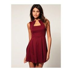 """ASOS Collection Fit and Flare with Square Neck ASOS Collection Red Asos Fit and Flare Dress with Square Neck. Used good condition, color """"chestnut"""". ASOS Dresses"""