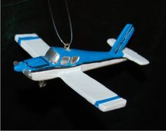 Blue & White Beechcraft Single Prop Airplane Personalized Christmas Ornament