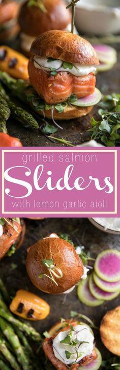Grilled Salmon Sliders with Lemon Garlic Sauce