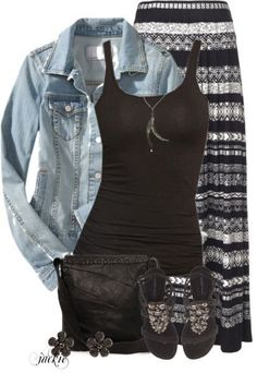 Denim Jacket and Maxi Skirt Lose the jean jacket tho! Otherwise, LOVE this outfit! Maxi Skirt Outfits, Modest Outfits, Modest Fashion, Casual Outfits, Fashion Outfits, Maxi Skirts, Jean Skirts, Apostolic Fashion, Modest Clothing