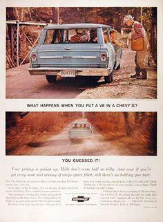 1964 Chevrolet Nova Station Wagon original vintage advertisement. Available with a V8 195 hp engine.