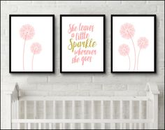 Dandelion nursery flower art she leaves a little sparkle wherever she goes nursery Printable digital Wall Art Baby girl teen nursery by JessicaPatelDesign on Etsy https://www.etsy.com/uk/listing/399366021/dandelion-nursery-flower-art-she-leaves