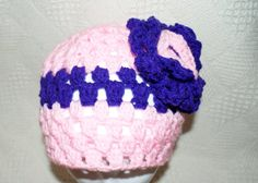 Womens Crochet Pink Floral Winter Hat by lanacooper,