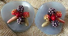 Plastic & Mixed Media Earrings from  C. 1940 ♥