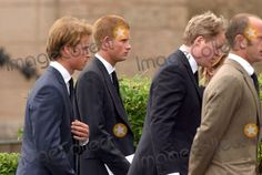 06/09/2004 Princes William and Harry with Earl Spencer attend the Funeral of Frances Shand Kydd at Oban Argyll in Scotland