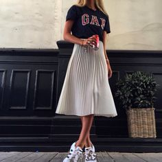 Fashion | long skirt | Adidas | GAP | Coca-Cola | Source: Tumblr lacooletchic