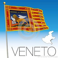 Veneto flag and map, italy, Flag of Saint Marco, vector file, illustration